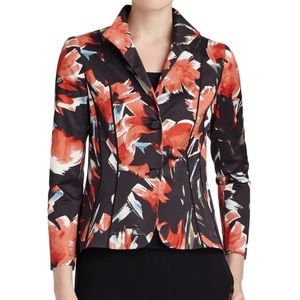 Lafayette 148 black floral blazer jacket cotton